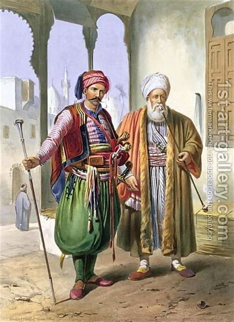 ottoman empire janissaries a janissary and a merchant in cairo illustration from