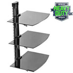 3 shelf floating wall mount dvd tv component av console