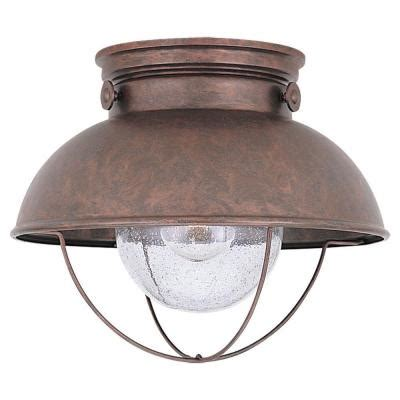 Outdoor Copper Light Fixtures Sea Gull Lighting Sebring 1 Light Weathered Copper Outdoor Ceiling Fixture 8869 44 The Home Depot
