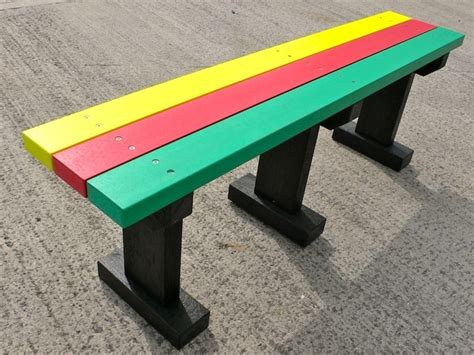 plastic benches uk multicoloured tees bench garden park no back recycled plastic trade