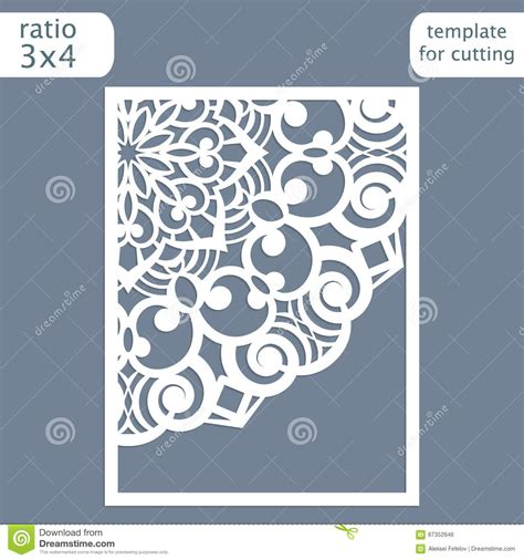 Laser Cut Wedding Invitation Card Template Cut Out The Paper Card With Round Pattern Stock Card Cut Out Template