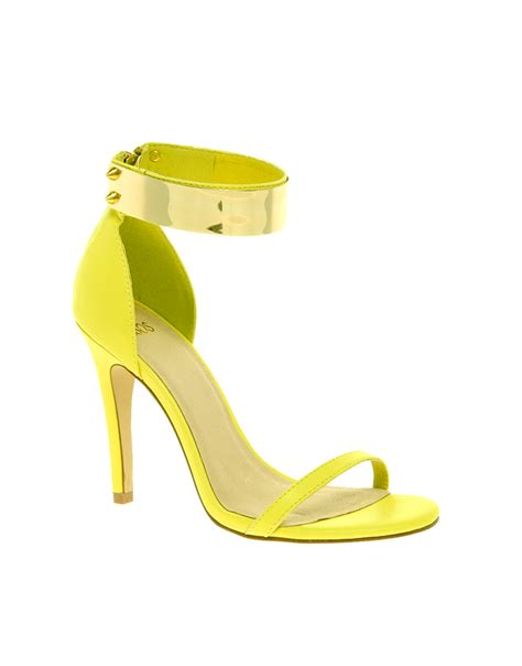 yellow sandals asos hong kong heeled sandals with metal trim in yellow lyst