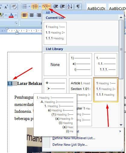 cara membuat format daftar isi word cara membuat daftar gambar tabel otomatis di word 2007 dan