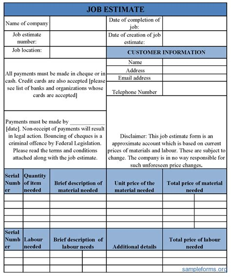 Basic Job Estimate Form Sle Forms Handyman Estimate Forms Templates