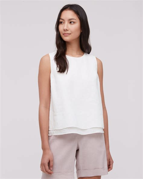 Layer Back Top cotton linen layered top jigsaw