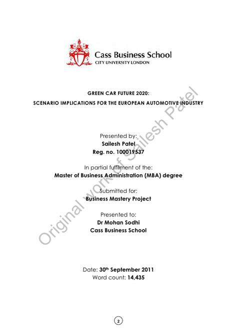 Mba In Automotive Industry by Mba Dissertation Green Car Future 2020 Scenario