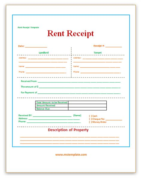 receipt template for rent payment images