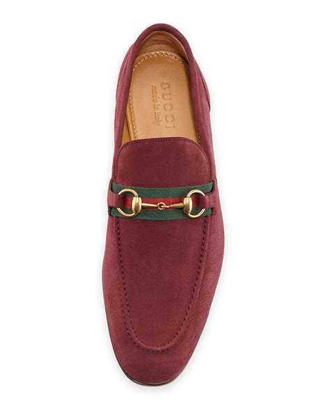 Slip On Gucci Maroon Ds lyst gucci suede horsebit loafer in purple for
