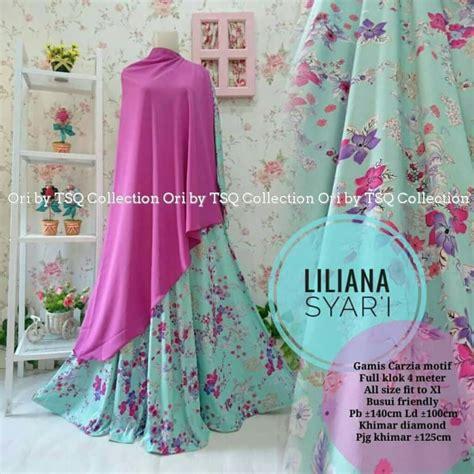 Gamis Syari Li Wiwik Blue baju gamis liliana syar i motif bunga cantik busana muslim