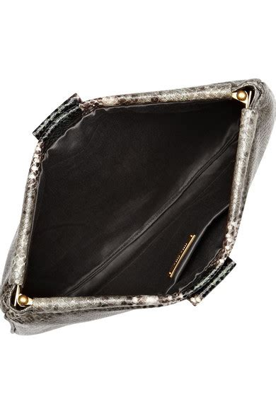 Found A Perfectly Chic Python Leather Clutch by Miu Miu Python Effect Glossed Leather Clutch Net A