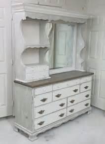 shabby white khaki grey dresser with mirror hutch