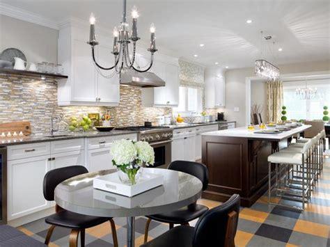 hgtv designer portfolio kitchens white kitchen with gray and orange floor hgtv