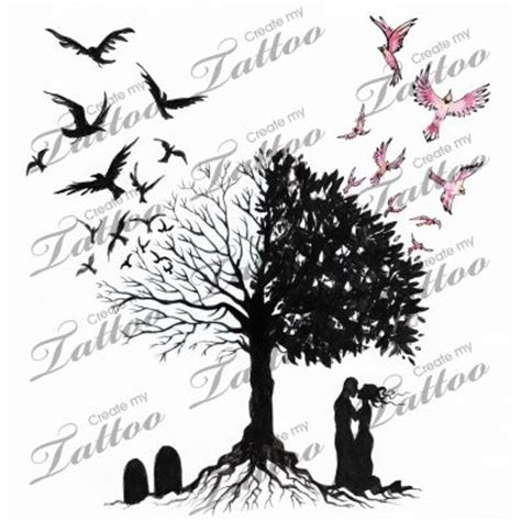 life and death tattoos designs marketplace tree of and design by