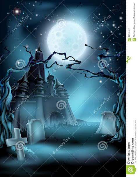 spooky cloud has locals fearing graveyard and castle background stock vector