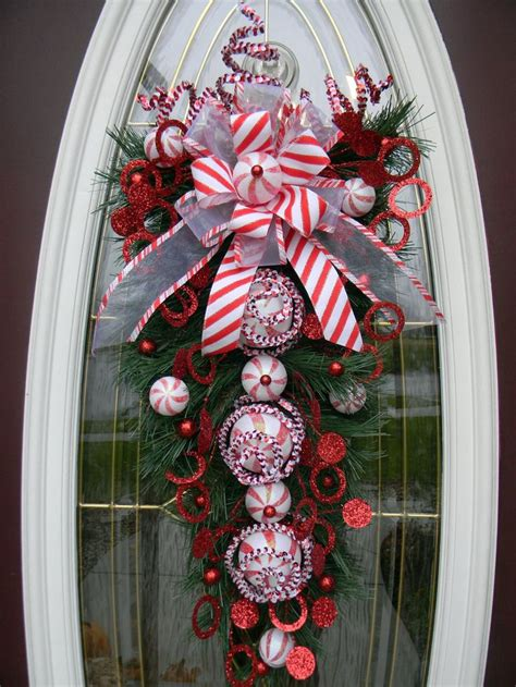 christmas vertical teardrop holiday door swag quot peppermint