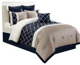 central park 7 embroidered comforter set navy king