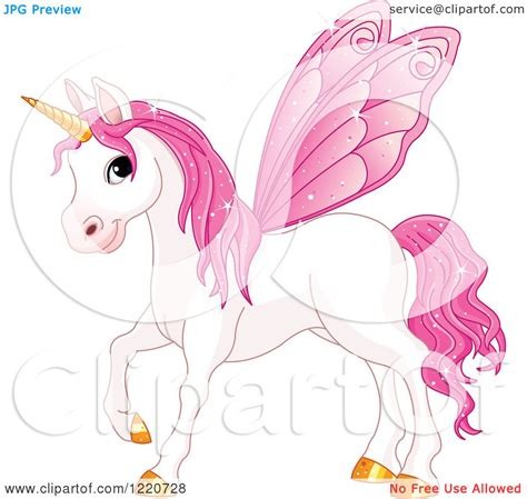 clipart of a magical fairy unicorn horse with pink wings