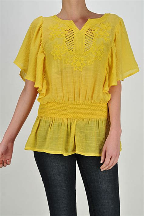 Tunic Boho Blouse Zeleka yellow gauze tunic top blouse bohemian hippie boho small tops blouses