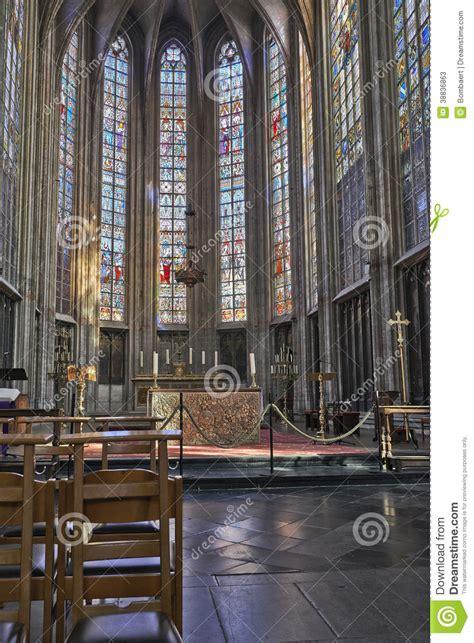 schip kerk schip van gotische kerk notre dame du sablon redactionele