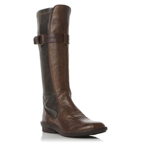 dune joyden womens brown buckle knee high