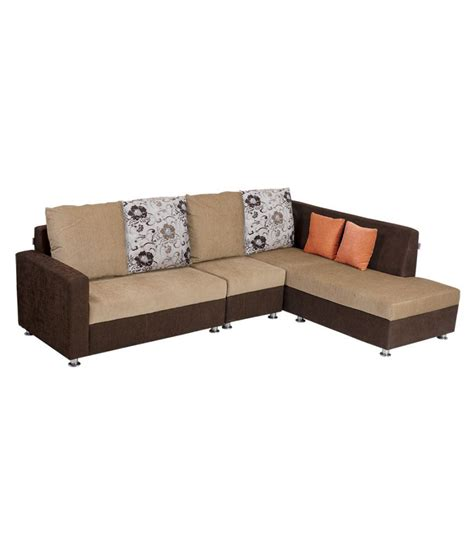 l shape sofa sets bharat lifestyle nano l shape cream brown fabric sofa