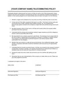 Telework Agreement Template by Telecommuting Policy Template Sle Form Biztree