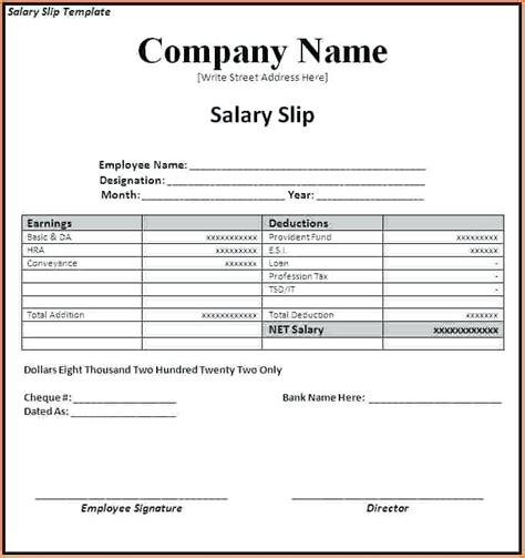salary receipt template excel 6 employee salary slip format pdf bike friendly