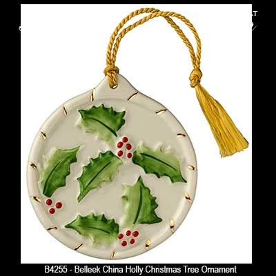 belleek christmas ornament holly