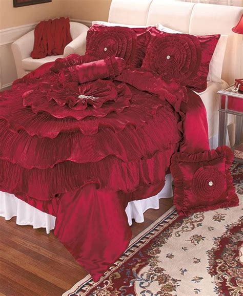new 5 pc luxurious burgundy bed n bag set comforter gems ruffles ebay