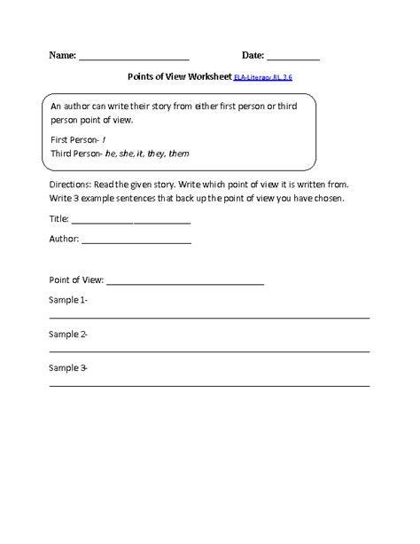 Author S Point Of View Worksheets by 3rd Grade Common Reading Literature Worksheets