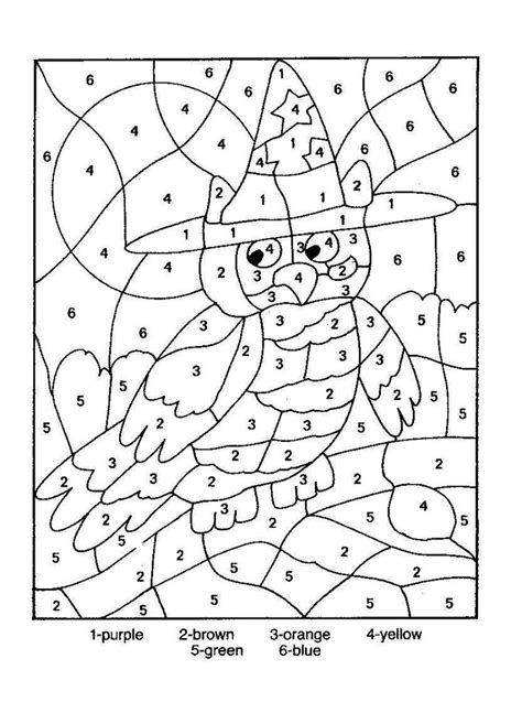 halloween coloring pages by numbers owl color by number coloring picture color by number