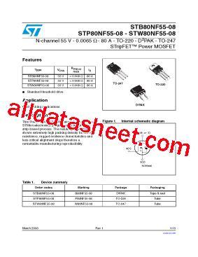 transistor mosfet p80nf55 p80nf55 08 datasheet pdf stmicroelectronics