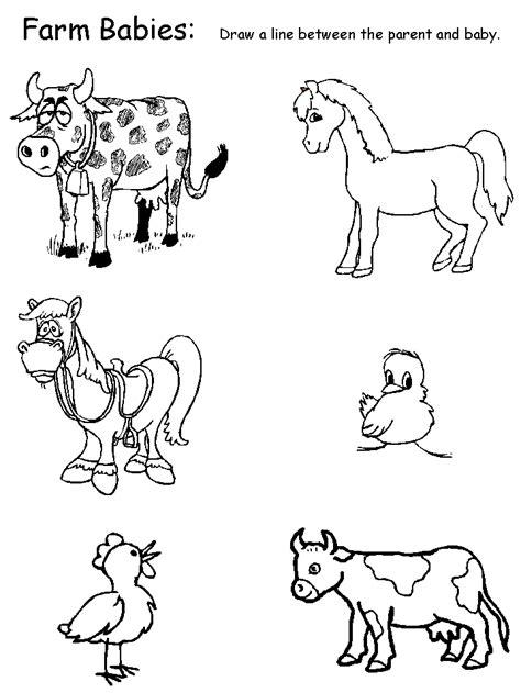 animals farm babies matching worksheet work pinterest