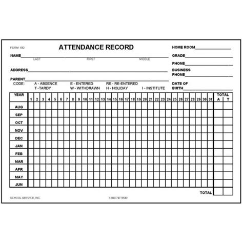 Attendance History Card Free Template 19d attendance record card index card forms