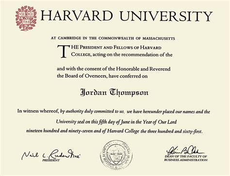 Harvard Mba Degree by Harvard Presidential Gold Engraved Diploma