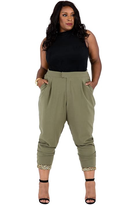 green plus size khaki pants for women poetic justice plus size colleen olive green straight