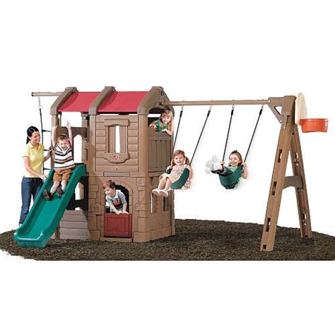 plastic swing set slide plastic swing sets back yard outdoor play swing sets