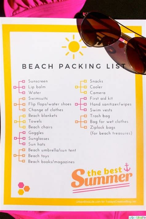 couples getaway beach day packing list with free printable