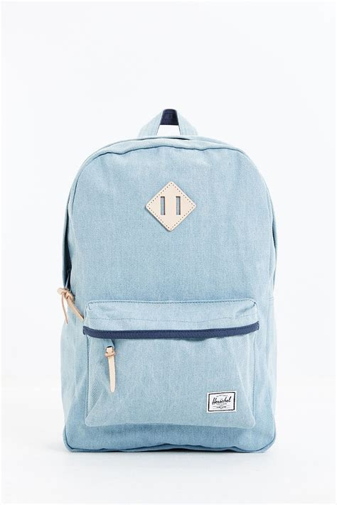 Denim Backpack lyst herschel supply co heritage select denim backpack in blue for