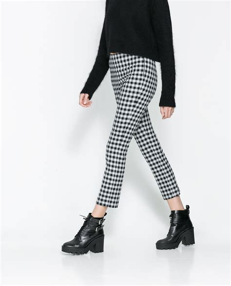 pants checkered jeans checkered pants black and white zara checkered trousers in gray lyst