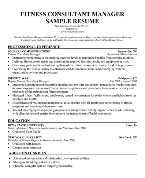 Fitness Center Manager Sle Resume by Fitness Resume Cover Letter 28 Images Health And Fitness Program Coordinator Trainer Cover
