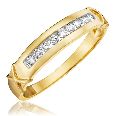 White And Gold Bed Set 1 Carat Diamond Trio Wedding Ring Set 14k Yellow Gold My