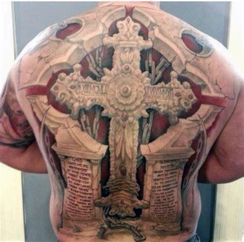 tattoo 3d full back 50 badass cross tattoos for men manly design ideas