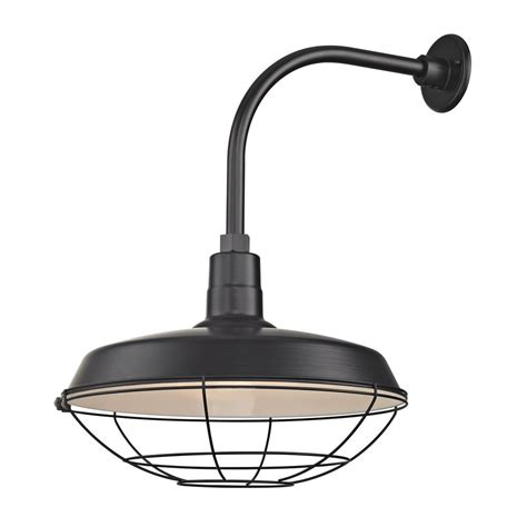 Outdoor Gooseneck Barn Lights Black Outdoor Barn Wall Light With Gooseneck Arm And 18 Quot Cage Shade Bl Arml Blk Bl Sh18 Blk Bl