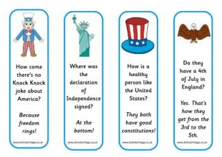 free printable riddle bookmarks fourth of july jokes