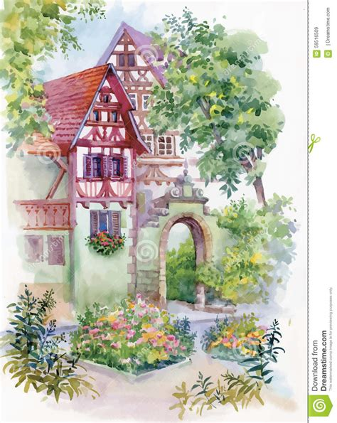 watercolor house painting watercolor home pinterest watercolor painting of house in woods illustration stock