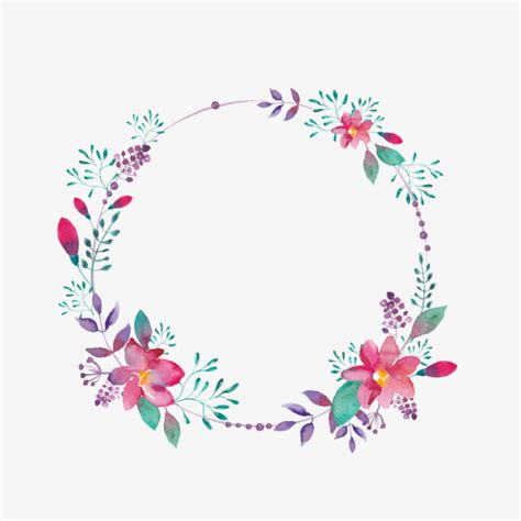 purple flower borders creative hollow circle flowers