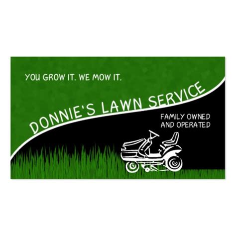 donnie s lawn service double sided standard business cards