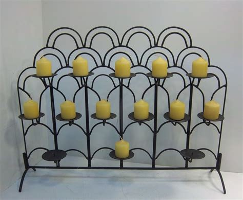 Fireplace Candle Holder Black Wrought Iron by Wrought Iron Fireplace Floor Candle Holder 14 Candles Pretty Ebay
