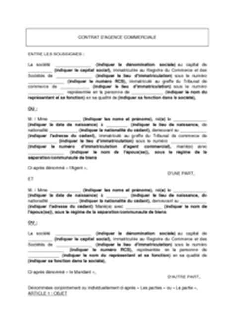 mod 232 le de contrat d agence commerciale mod 232 le de lettre